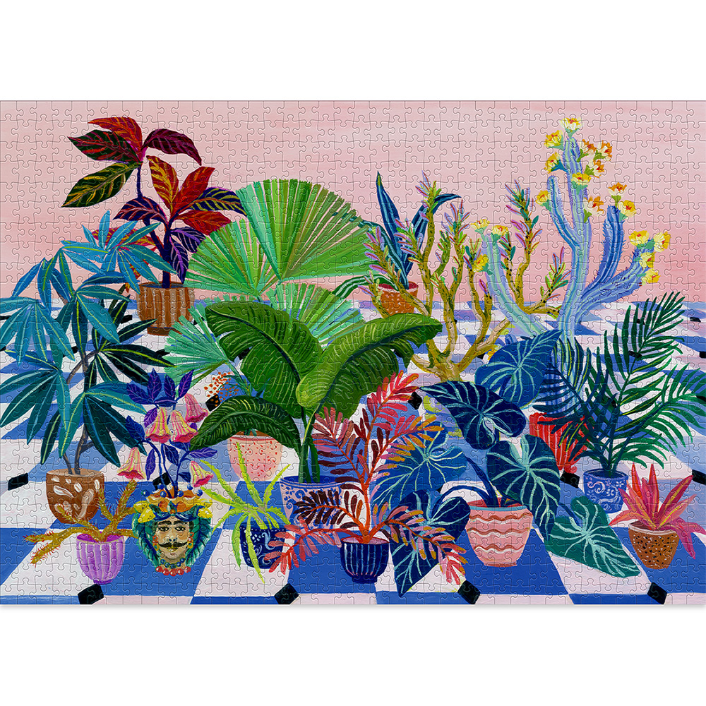 Backyard is a fun 1000-piece puzzle for adults, full of pink and blue colours!