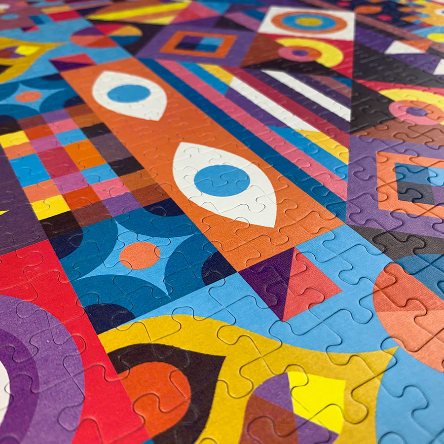 vibrant, pattern-filled abstract puzzle called SYMMETRY by Cloudberries