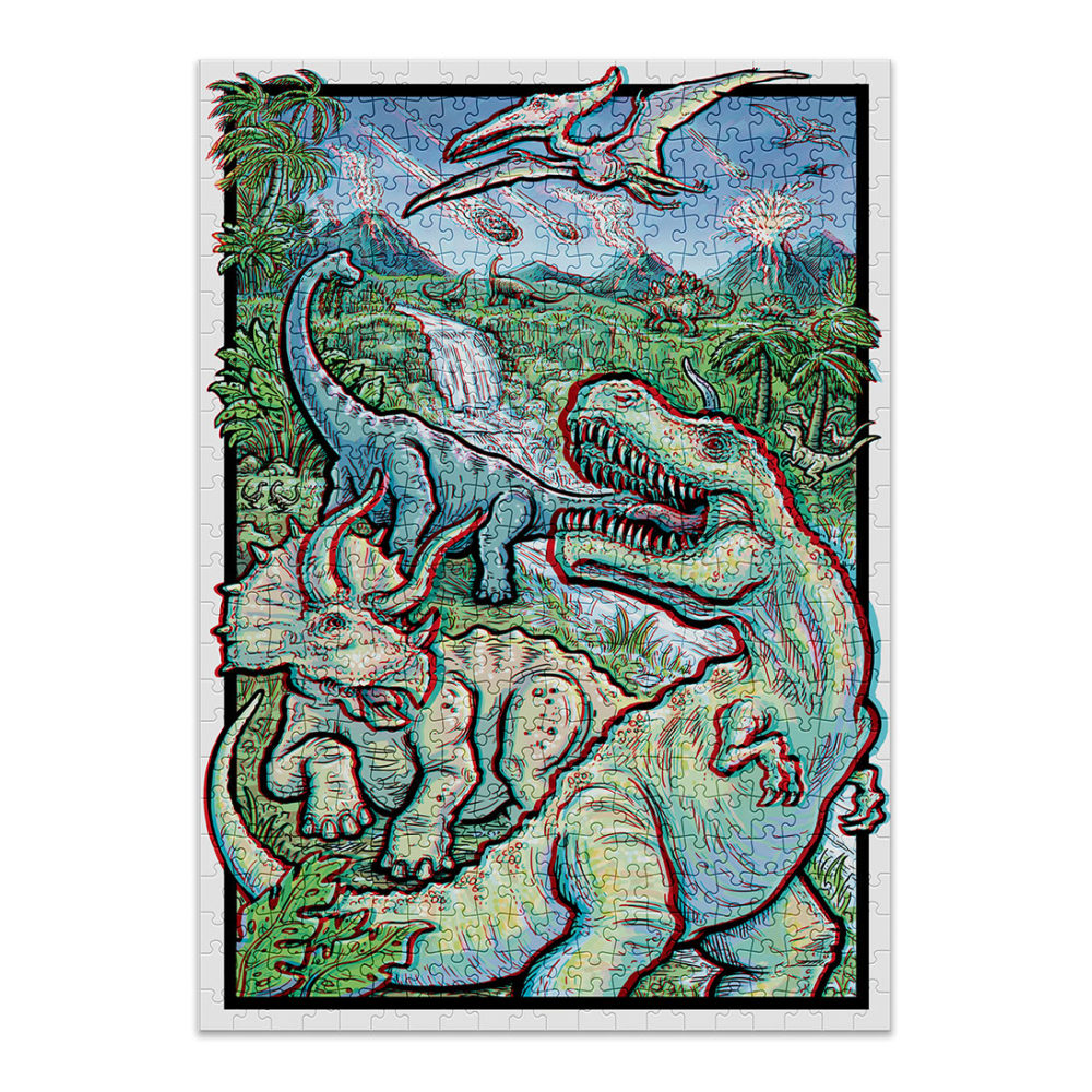 Dinosaurs puzzle with 3D effect