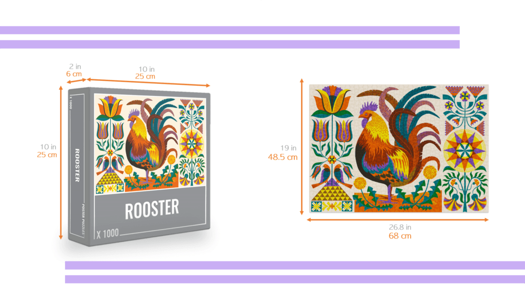 rooster jigsaw puzzle with dimensions